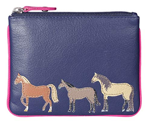KWH Navy Blue Leather Zip Top Coin Pocket Purse Wallet with Horse Pony Applique by Mala