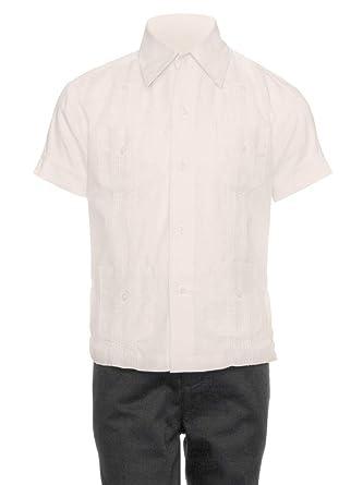 cb329d4e534 Gentlemens Collection Guayabera Shirt for Boys - Linen Look Cuban Shirt  Great for Beach Wedding Beige