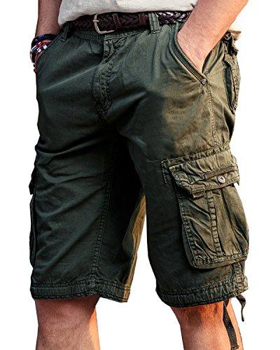 JoJoJoy Men's Casual Loose Fit Cargo Shorts, Straight Multi-Pocket Cotton Outdoor Wear Atrovirens Size 36