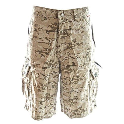 Pocket Cargo Shorts Desert Camo - Molecule Men's Beach Bumpers Cargo Shorts - 100% Cotton, Tactical Pockets | USA 35