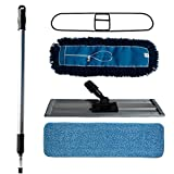 Nine Forty Industrial | Commercial Hardwood Floor Dust Mop Broom Cleaning Set | Microfiber Flat Wet Mop Pad & Frame, Premium Nylon Dust Mop Head & Frame, Mop Handle w/ Adapter (24 Inch)