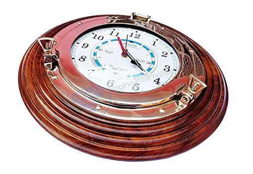 (Nagina International Nautical Time Tide Clock with Brass Porthole & Wooden Base - Captain Maritime Beach Home Decor Gift (12 Inches))