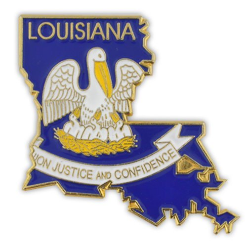 (PinMart State Shape of Louisiana and Louisiana Flag Lapel Pin)