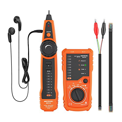 (Meterk Wire Tracker RJ11 RJ45 Line Finder Handheld Cable Tester Multifunction Cable Check Wire Measuring Instrument for Network Maintenance Collation, Telephone Line Test, Continuity Checking )