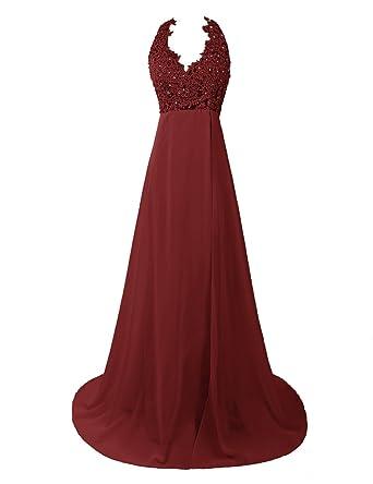 Dresstells reg;Vestido De Mujer Boda Fiesta Noche Largo De Gasa Con Aplicaciones Talle Alto