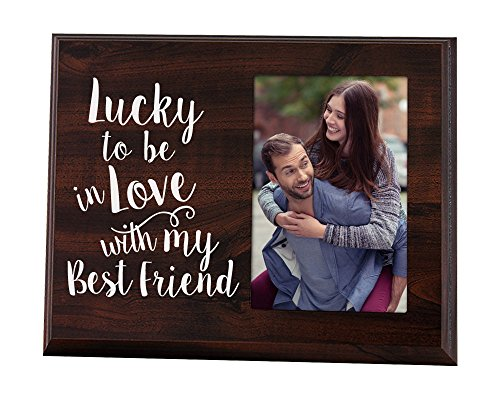 Elegant Signs Lucky to Be in Love Romantic Gift Picture Frame for Boyfriend or Girlfriend (Cute Best Friend Christmas Gift Ideas)