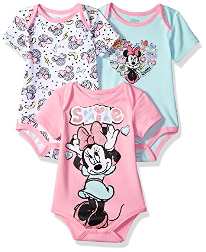 Disney Baby Girls' Minnie Mouse 3 Pack Bodysuits, Multi/Cotton Candy Pink, 18M -