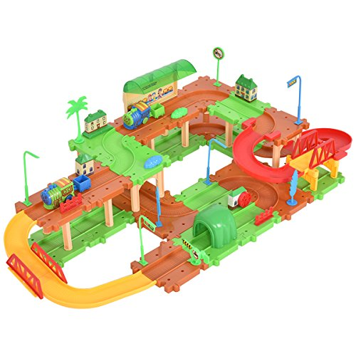 Costzon 69PCS B/O Electronic Building Block Kids Plastic Railway Train Brick Set