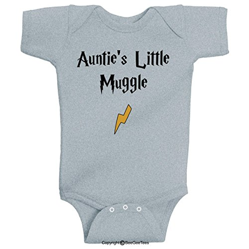 BeeGeeTees Auntie's Little Muggle Funny Wizard Baby Romper Wizard Onesie (12 Months, Gray)