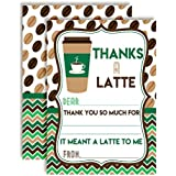 """Thanks A Latte Green and Brown Coffee Themed Thank You Notes, Ten 4"""" x 5.5"""" Fill In the Blank Cards with 10 White Envelopes by AmandaCreation"""