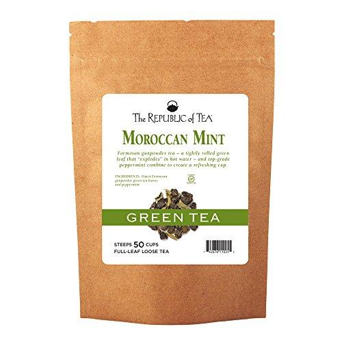 (The Republic of Tea Moroccan Mint Full-Leaf Green Tea, 5.1 Ounces / 50-60 Cups (Refill Bag))