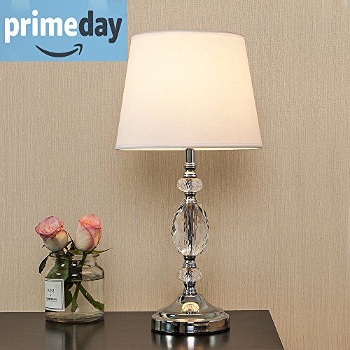 POPILION Decorative Chrome Living Room Bedside Crystal Table Lamp,Table Lamps With White Fabric Shade for Bedroom Living Room Coffee Desk Lamp (Lamp Table Chrome Lamp)