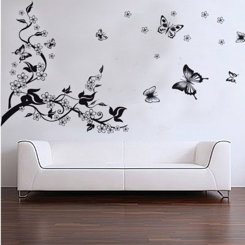 Beautiful Home Removable Recycling Wall Sticker (Black Tree Black Butterfly With White  Flowers) (BLACK/WHITE, 1) Part 24
