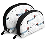 Makeup Bag French Style Dachshund Dog Polka Dot Portable Shell Cosmetic Bags Holder For Women