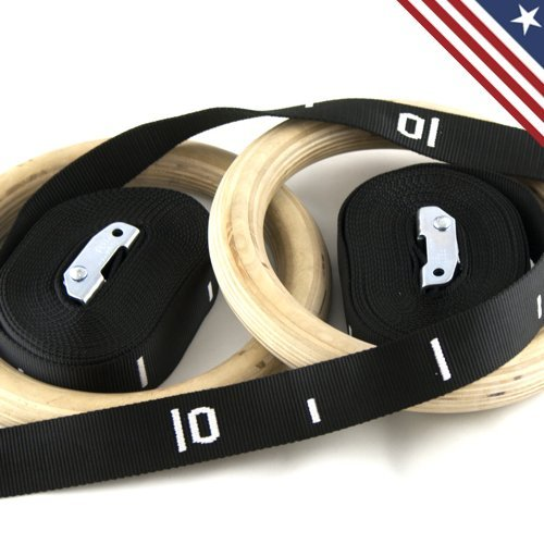 Wooden / Wood Gymnastic Rings Olympic Rings with Adjustable Straps & Buckles for Crossfit Exercise Strength Training By Bomba Gear