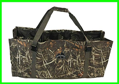 Crash Harbor Outdoors Duck Decoy Bag 12 Slot w/Large Front Pocket, Adjustable Shoulder Strap, Padded, Floating, Excellent Protection for Your Decoys