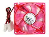 APEVIA 120mm 4pin Molex + 3pin Motherboard Red LED Case Fan CF12SL-URED