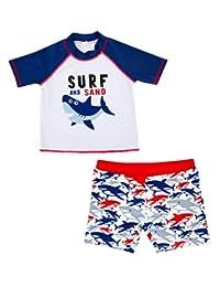 Baby Boys Rashguard Set 2-Piece Short Sleeve Swimwear with Sun Protection