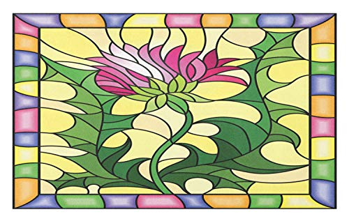 - Ambesonne Thistle Doormat, Colorful Stained Glass Style Flower Motif of Pink Thistle Figure Framed Design, Decorative Polyester Floor Mat with Non-Skid Backing, 30 W X 18 L Inches, Multicolor