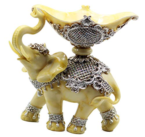 """Feng Shui 9"""" (H) Elephant Statue with Candle Holder Trunk Facing Upwards Collectible Wealth Lucky Elephant Figurine, Perfect for Home Office Decor Gift by Crystal Collection"""