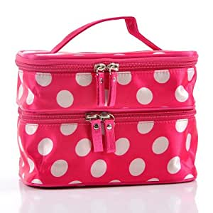 """niceEshop(TM) Unique Dots Pattern Double Layer Cosmetic Bag Rose Red (7.48"""" X 4.65"""" X 5.31"""")"""