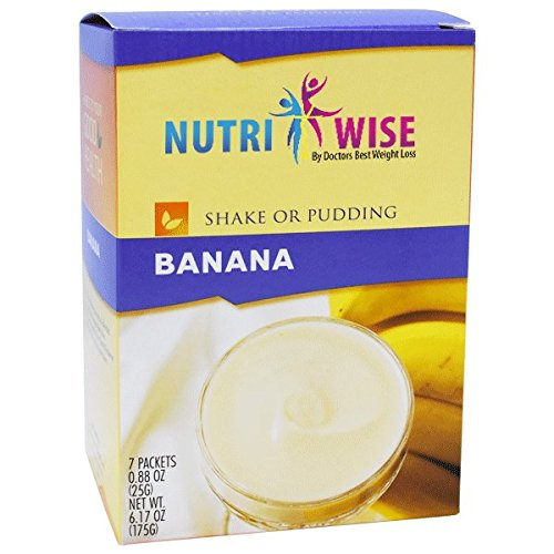 NutriWise - High Protein Diet Shake & Pudding | Banana | Low Calorie, Fat Free, Low Sugar (7/Box) by NutriWise