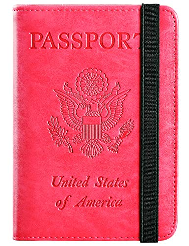 - Passport Holder Cover Wallet RFID Blocking Leather Card Case Travel Document Organizer (Rose Red)