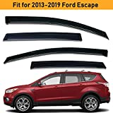 Lightronic Side Windows Smoke Tint Wind Deflector Vent Rain Guards for 2013-2019 Ford Escape 4Piece Set