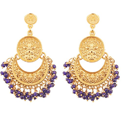 Earrings Indian Designer (Touchstone New Indian Bollywood Finely Hammered and Embossed Traditional Blue Beads Charming Look Dangling Chand Baali Half Moon Motif Designer Jewelry Earrings in Antique Gold Tone for Women.)
