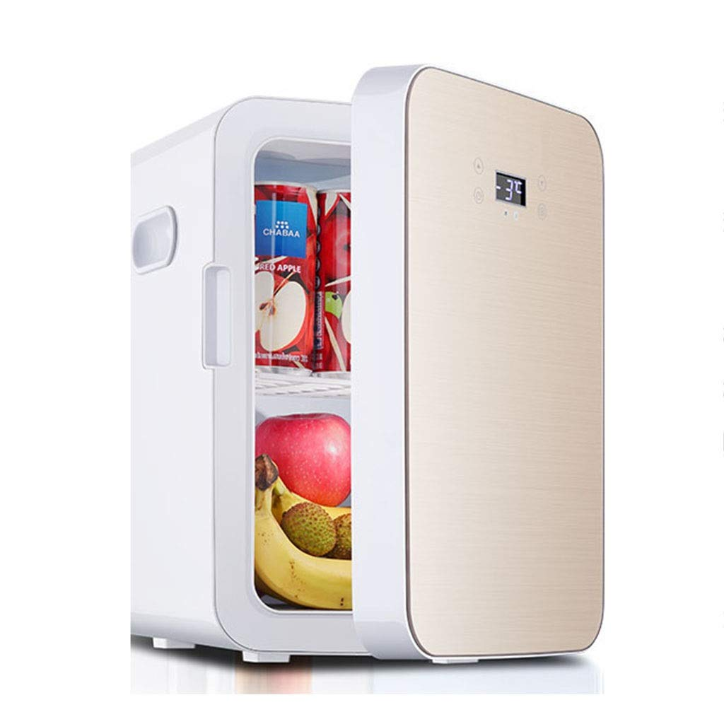 Refrigerator SHPING Car Mini 13L Home Smart Touch Screen Mute Vertical Hot and Cold Dual Use (Color : Gold, Size : Digital Display) by Refrigerator