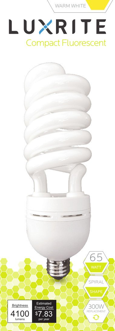 Luxrite LR20215 (12-Pack) 65-Watt High Wattage CFL Spiral Light Bulb, Equivalent To 300W Incandescent, Warm White 2700K, 4100 Lumens, E26 Standard Base