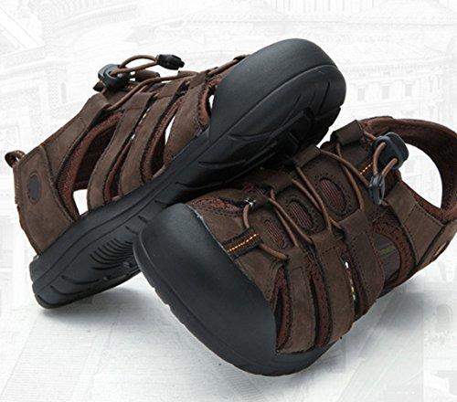 Estivi Pescatore Pantofole Scuro Piscina Sandali Sportivi Pelle PU All'aperto Trekkig Outdoor Marrone da Uomo Yiiquan wAIqWFWz