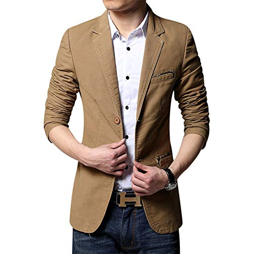 Men's Blazer Jacket Slim Fit One Button Sport Coat Notch Lapel Casual Business Solid Single Breasted Outwear (Yellow, Large)