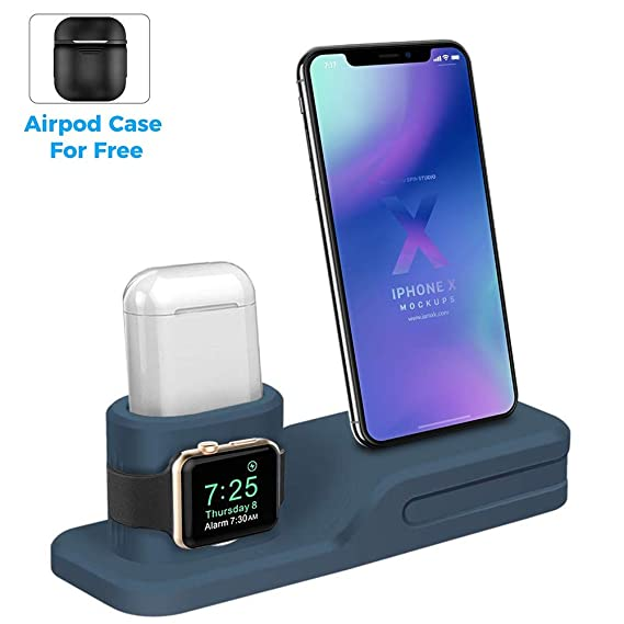 promo code 3a45a 33e40 LEWOTE 3in1 Silicone Charging Stand Dock Compatible for Apple  Watch/Airpods/iWatch/iPhone X 8 7 6 Plus[Gift a Airpods Case] (Blue)