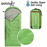 OUTSTAR Lightweight Waterproof Envelope Sleeping Bag With Compression Sack for Kids or Adults Outdoor Camping, Travelling, Hiking & Backpacking (Green, Envelope)