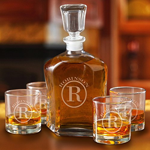 Circle Monogram Set (Personalized Whiskey Decanter Set with 4 Low Ball Glasses - Circle)