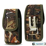 Lenovo S850 Vertical Camouflage Leaves Heavy Duty Rugged Canvas Case with Metal Clip and Belt Loop. Great for Hiking, Camping, Outdoor and Construction Work (MH02DAM32) (Plus Size will Fit Phone with a SLIM Skin or Cover on ) + MYNETDEALS Mini Touch Screen Stylus