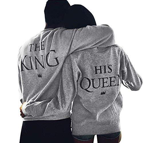 Fidanzati Stampa Manica King Girocollo Felpa Pullover Coppia Queen R354AjL