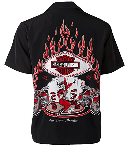 Harley-Davidson Las Vegas Cafe Poker Babe and Flames Biker Shirt (M)