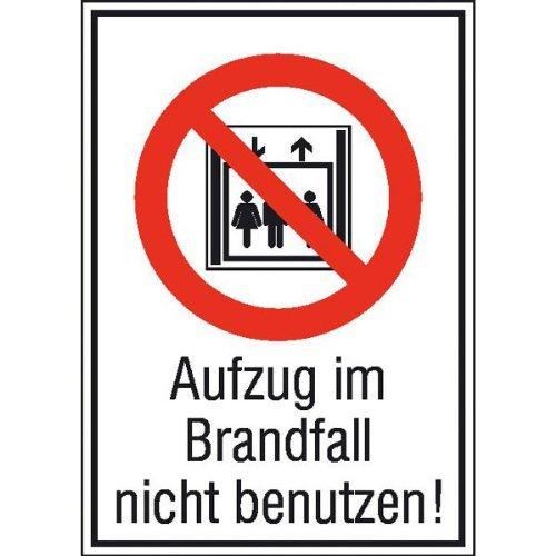 Ascensor en caso de incendio usar Verbotsschild ...