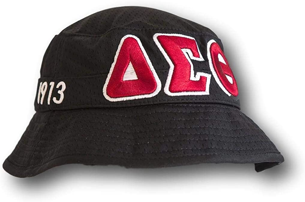 Delta Sigma Theta Sorority Bucket Hat Black with Red Stripe