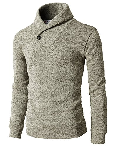 H2H+Mens+Knited+Slim+Fit+Pullover+Sweater+Shawl+Collar+With+One+Button+Point+IVORY+US+L%2FAsia+XL+%28KMOSWL036%29