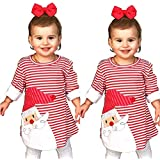 YOUNGER TREE Toddler Baby Girl Xmas Santa Deer Print Dresses Casual Kids Christmas Clothes Outfits (3T/4T, Santa)