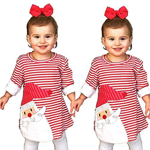 YOUNGER TREE Toddler Baby Girl Xmas Santa Deer Print Dresses Casual Kids Christmas Clothes Outfits (2T/3T, Santa) -