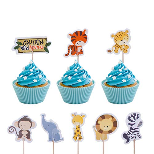 Haley Party Safari Animals Cupcake Toppers Jungle Theme Party Supplies for Baby Shower Safari Jungle Theme Birthday Party Decoration Favors 24PCS ()