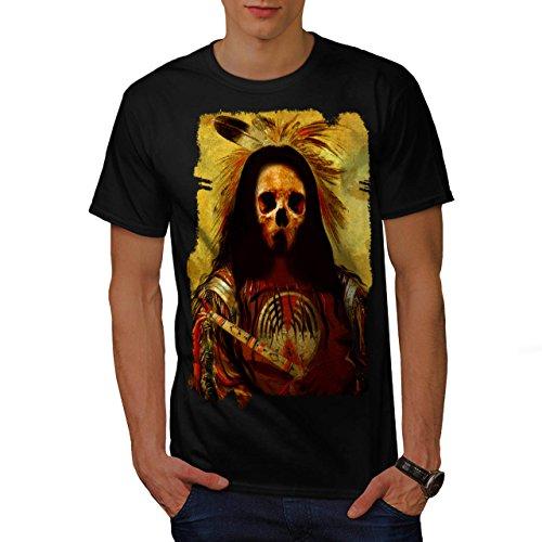 [Skull Indian Soldier Costume Men NEW Black L T-shirt | Wellcoda] (Mayan Warrior Costumes)