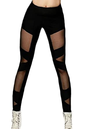 Lettre damour Mujeres Sheer Mesh Patchwork Yoga Fitness ...