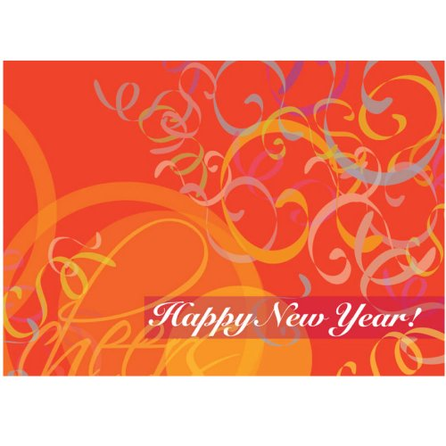 "New Year Greeting Card N7011. A bright, celebratory design wishing ""All the Best in 2018"". For personal or business use; gold foil-lined envelopes."