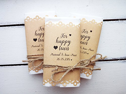 Happy tears tissue pack, 30 pieces wedding favor for your happy tears, Tears of joy packs, Custom, handkerchief, -