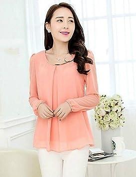 gsp-plus Size cuello redondo mujeres tela de chifón de seda camiseta, yellow-